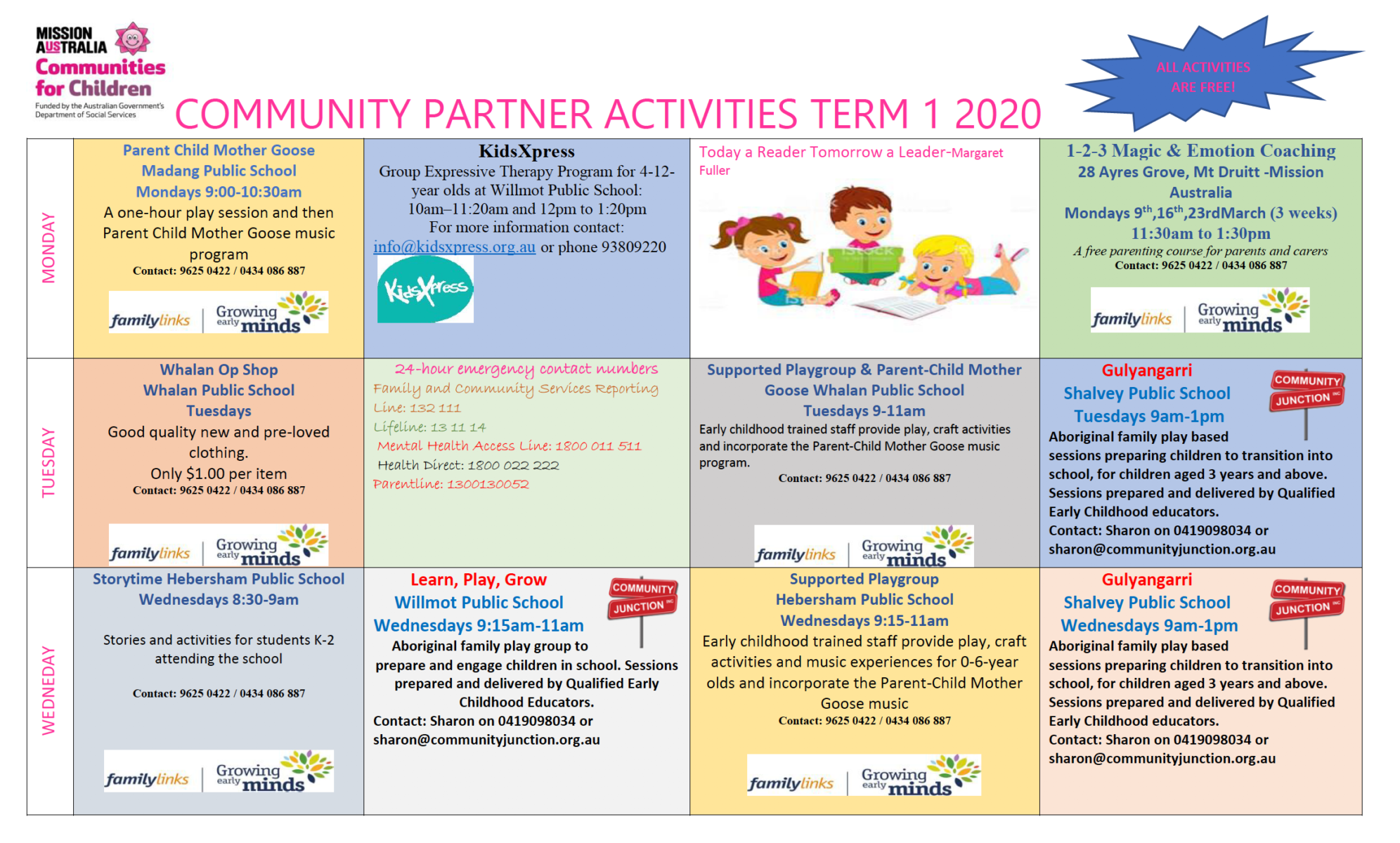 Communities For Children What's On Term 1 2020 Calendar