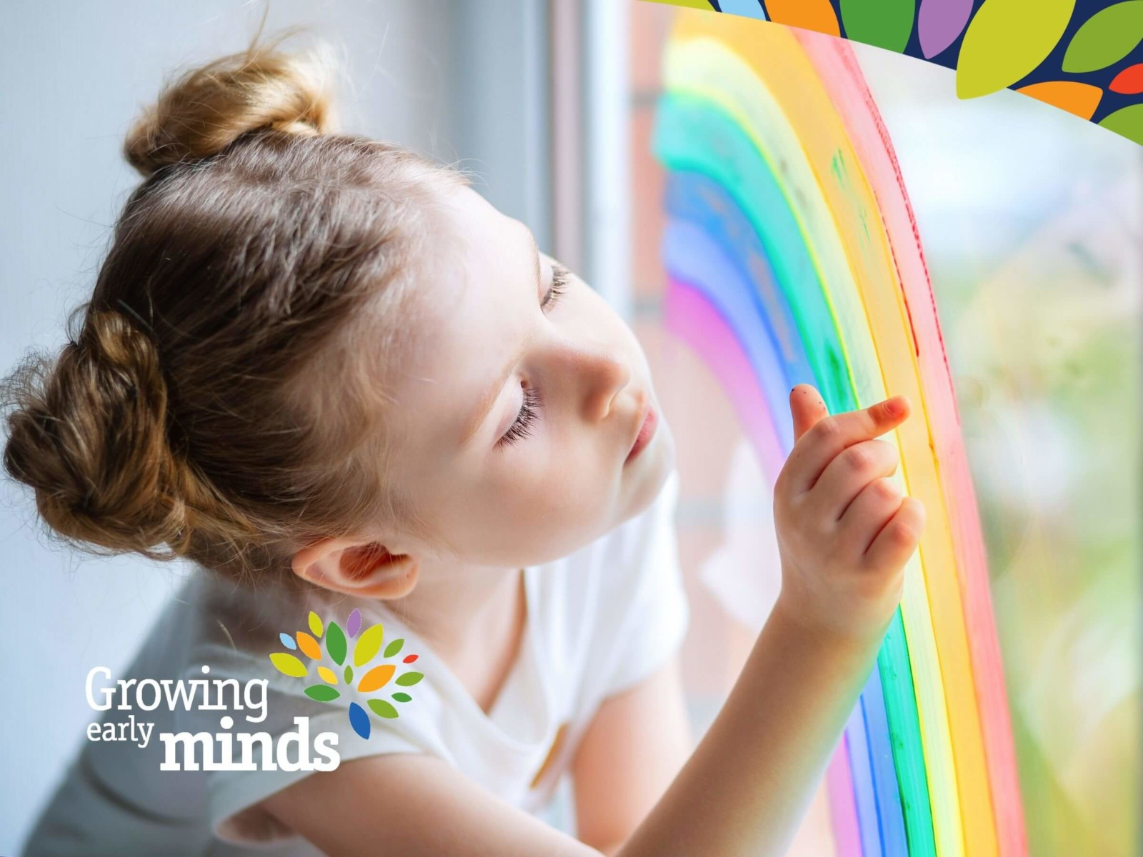 A Child With Learning Behavioural Difficulties Looking At A Rainbow Painted On The Window
