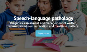 Speech-Language Pathology Learn More tab