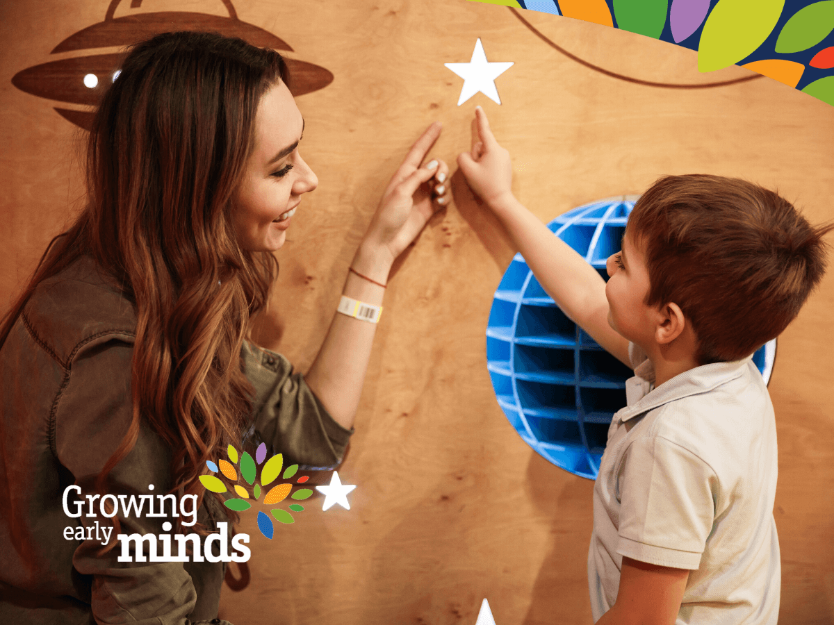 Woman And Child Both Pointing At A Star On A Wall To Illustrate Joint Attention